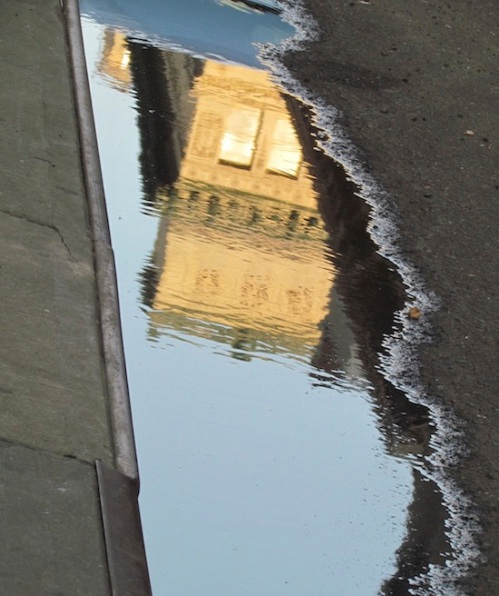 Reflections in a puddle