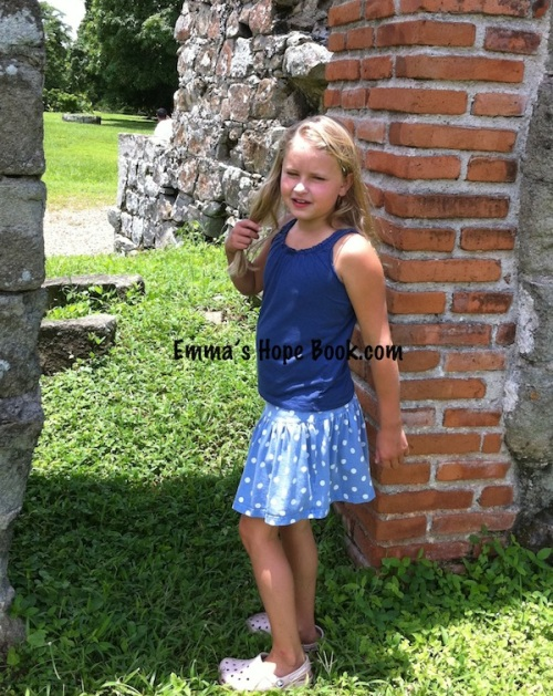 Emma walking among ruins in Panama ~ 2010