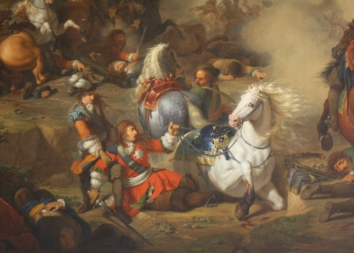 The Duke of Enghien saving his father, the Grand Condé at the battle of Seneffe: painting from 1786 by Bénigne Gagneraux